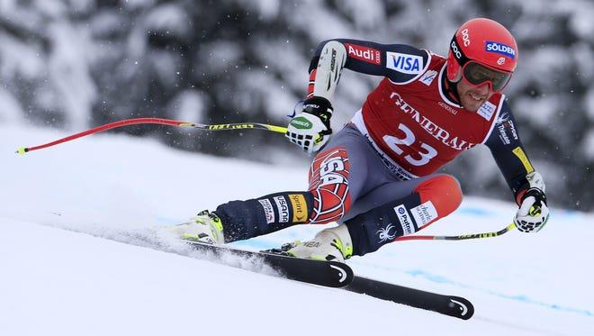 Bode Miller competes in the FIS men's Alpine ski World Cup Super G  in Kitzbuehel, Austria, on Sunday.