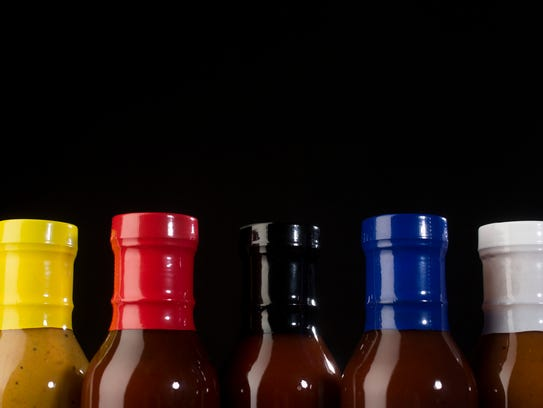 Five selections of Mack Daddy's BBQ Sauce, made in