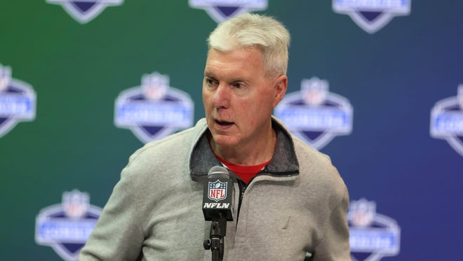Green Bay Packers general manager Ted Thompson speaks to the media during the 2017 NFL Combine at the Indiana Convention Center.