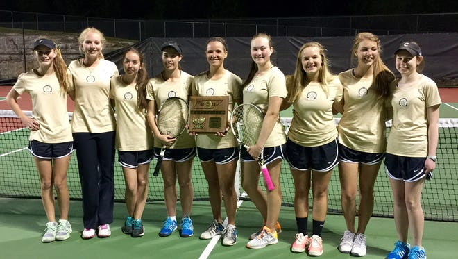 The Central Magnet girls tennis team defeated Goodpasture 4-3 to win the District 7-A/AA tournament. Pictured (from left) are Megan Scott, Sally Smith, Rachel Byrnes, Jordan Berrios, Ellis Bouldin, Emily Oppmann, Laurel Tipps, Mary Grace Offut and Mamie Sevier.