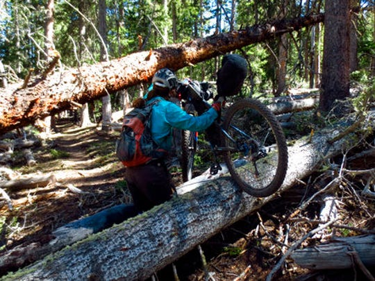 In this June 2, 2014 photo provided by Scott Morris, Eszter Horanyi carries her loaded bikepacking bike over downed trees in New Mexico on the Continental Divide Trail.