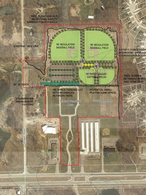 A rendering dated Dec. 6, 2016 shows how vacant city-owned land in Howell could be used as a public park with ball fields and other amenities.