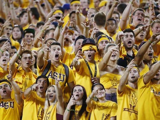 ASU Sun Devils cheering fans