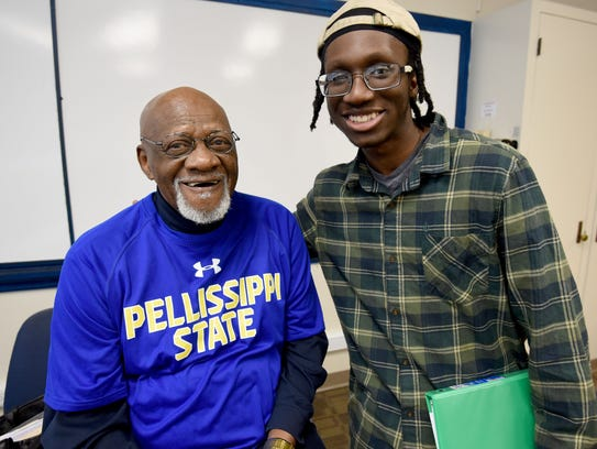 Professor Robert Boyd poses with student Khari Dixon