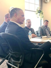 Democratic Senate candidate Russ Feingold, left, met with Brown County Supervisor Tom Sieber, International Union of Operating Engineers Local 139's Shane Griesbach and RelyCo Inc. President Bradley Ottum Tuesday in the Greater Green Bay Chamber offices.