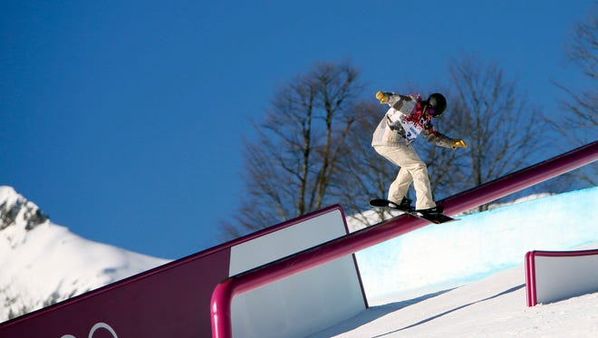 Charles Guldemond (USA) during men's slopestyle qualification in the Sochi 2014 Winter Olympic Games at Rosa Khutor Extreme Park.