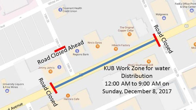 From midnight Saturday - 9 a.m. Sunday morning, weather permitting, crews will shut down Cumberland Avenue between 18th and 19th Street.