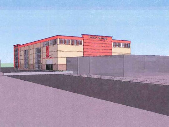 A perspective view of the planned Public Storage project