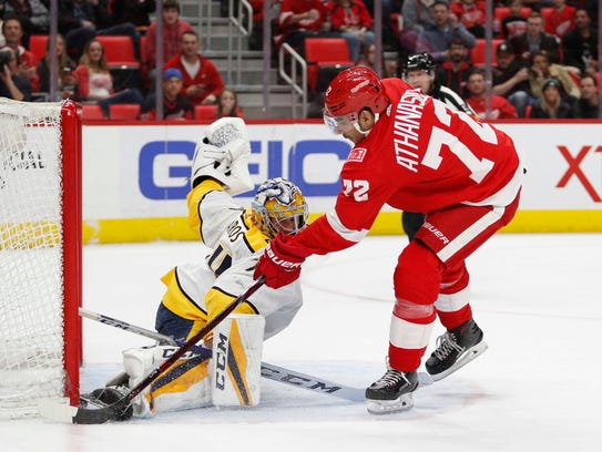Red Wings left wing Andreas Athanasiou has his moments, but inconsistency is an issue. If another team offers up an enticing enough return, he could be moved.
