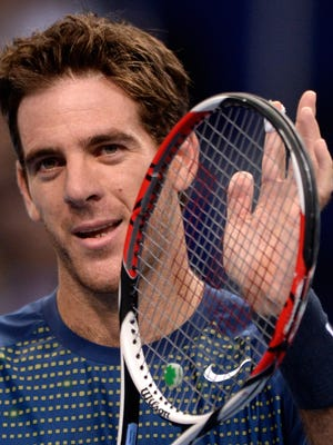 Argentina's Juan Martin Del Potro celebratres after winning against France's Paul-Henri Mathieu in their quarter-final tennis match at the Swiss Indoors.