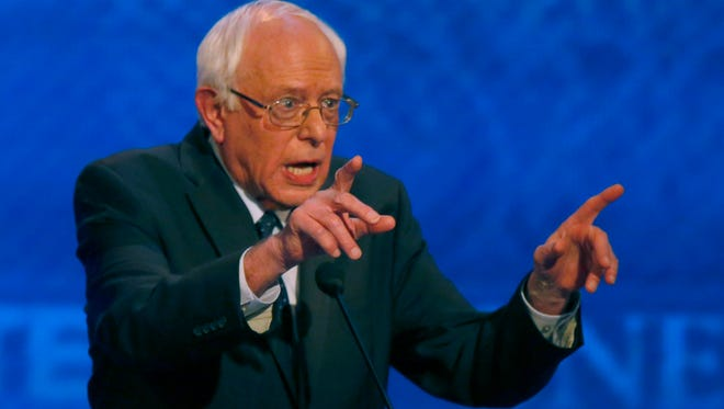 Bernie Sanders speaks during a Democratic presidential primary debate Saturday, Dec. 19, 2015, at Saint Anselm College in Manchester, N.H. (AP Photo/Jim Cole)
