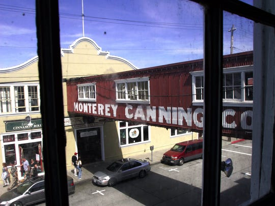 Cannery Row in modern times. Walkways were used to connect cannery buildings and speed production.