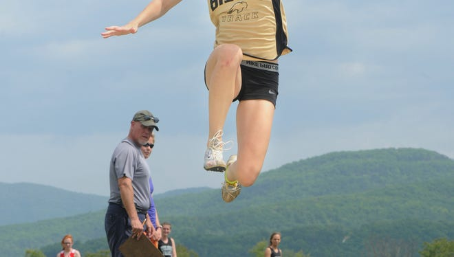 Buffalo Gap's Kristy Verbeek was a triple-winner Wednesday at the Conference 36 track meet at East Rockingham High School, winning the high jump, long jump and triple jump.