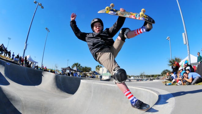 Jack Winburn, 13, of South Carolina competes in the January 2016 Cocoa Beach Open at the Cocoa Beach Skate Park.