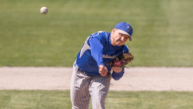 KCC pitcher Tyler Bradner pitches against Muskegon CC at C.O. Brown Stadium on Wednesday.