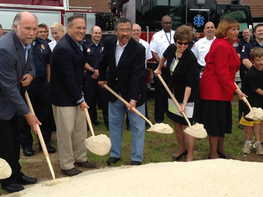 City commissioners Gil Ziffer and Scott Maddox, Mayor John Marks, City Commissioner Nancy Miller and City Manager Anita Favors Thompson at the ceremonial groundbreaking of Fire Station 16 on Thursday.