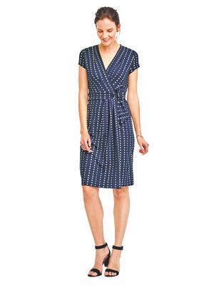 Right, add a red bag or shoes to pop against this dot pleated wrap dress. $119 online only at anntaylor.com.