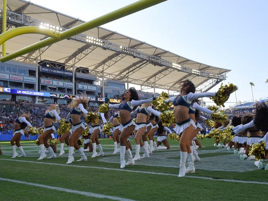 Los Angeles Chargers cheerleaders perform during the