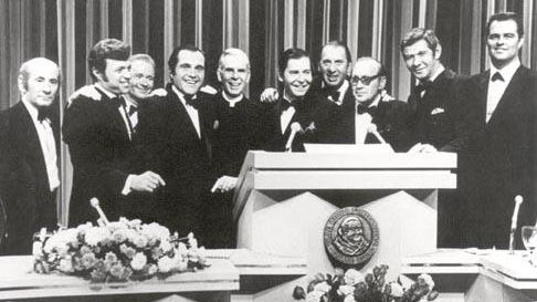 This undated photo, now part of an exhibit at the National Comedy Hall of Fame, was taken at the New York Friars Club. From left to right: Myron Cohen, Steve Lawrence,  Red Buttons, Alan King,  Fulton Sheen, Milton Berle, Henny Youngman, Jack Benny, Jan Murray and Don Drysdale.