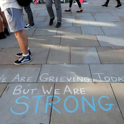 A message is written on the pavement in Manchester,
