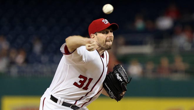 Washington Nationals starting pitcher Max Scherzer (31) pitches against the Arizona Diamondbacks in the first inning at Nationals Park.
