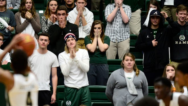 CSU fans nervously watch John Gillon shoot a free throw in the final minute Saturday, with a game against Utah State on the line. All five of CSU's Mountain West games this year have been decided in the final minute.
