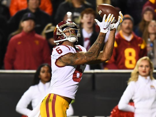Oct 25, 2019; Boulder, CO, USA; USC Trojans wide receiver Michael Pittman Jr. (6) pulls in a touchdown reception in the fourth quarter against the Colorado Buffaloes at Folsom Field. Mandatory Credit: Ron Chenoy-USA TODAY Sports