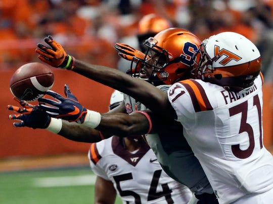 Virginia Tech cornerback Brandon Facyson (31) breaks