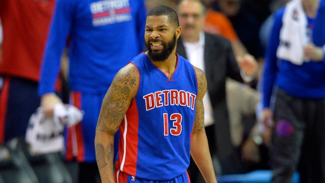Pistons forward Marcus Morris (13) reacts in the fourth quarter of the Pistons' 96-88 win Monday in Cleveland.