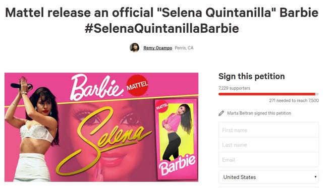 Selena Quintanilla Perez fans are hoping a Change.org petition will push Mattel to create a Barbie in the Tejano icon's likeness.
