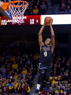 Purdue guard Jon Octeus, shown here dunking at Minnesota, is a contender for Hoopsmanifesto.com's Dunk of the Year for a slam at Indiana.
