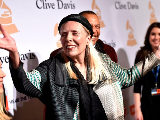 Joni Mitchell arrives at the 2015 Clive Davis Pre-Grammy