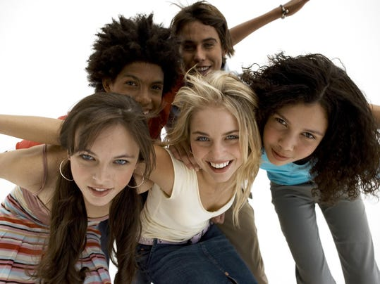 Smiling group of teenagers
