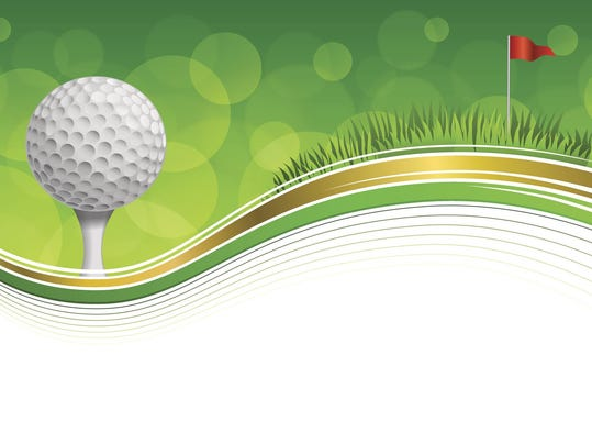 Background golf sport green grass red flag ball frame gold