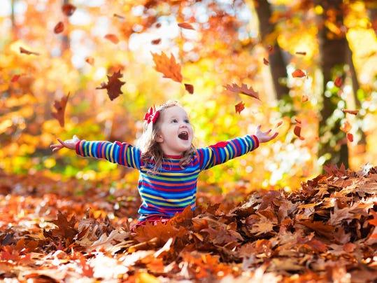 Sweet little girl in autumn park