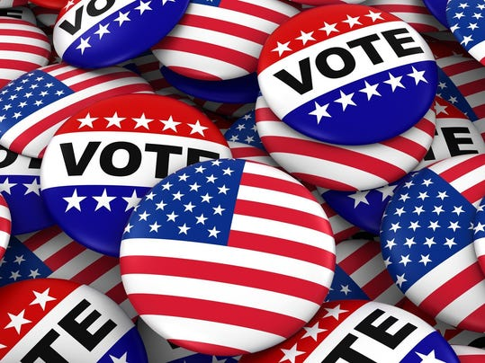 US Elections Concept United States Flag and Vote Badges