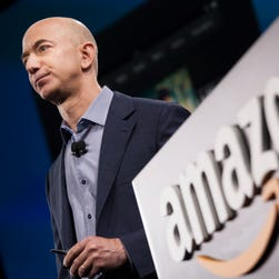Amazon founder and CEO Jeff Bezos presents the company's first smartphone, the Fire Phone, on June 18 in Seattle.