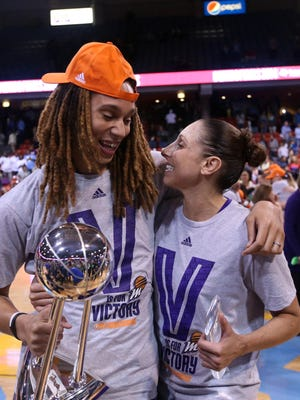 Phoenix Mercury stars Brittney Griner, left, and Diana Taurasi are among 12 players chosen for the U.S. Olympic women's basketball team for the Rio Olympics.