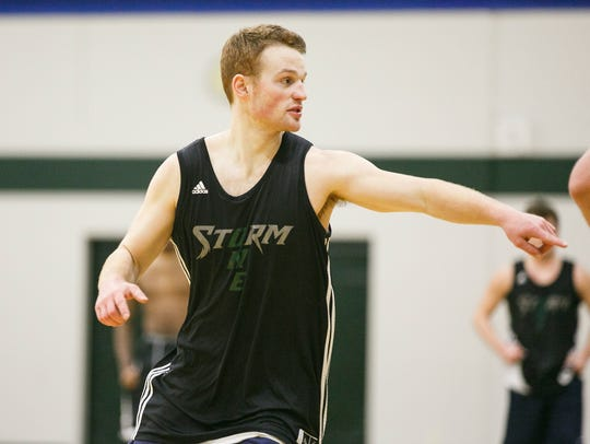 Chemeketa basketball player Collin Huun at a practice