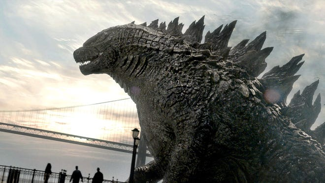 """The monstrous reptile from the new """"Godzilla"""" shows some definitely evolution from icons past, including the addition of gills, improved spiky scales and facial lines straightened for a more aggressive look."""