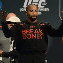 Jan 2, 2015; Las Vegas, NV, USA;   Daniel Cormier during the weigh in for his Light Heavyweight Title Bout against Jon Jones (not pictured) at MGM Grand Garden Arena. Mandatory Credit: Jayne Kamin-Oncea-USA TODAY Sports