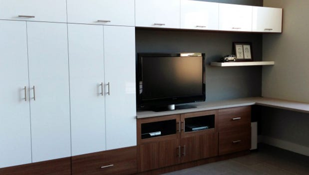 California Closets gives us tips on how to create a home office and entertainment center in one space