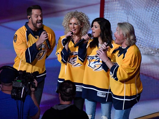 Little Big Town sings the National Anthem before the
