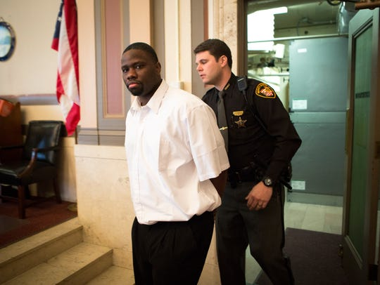 Kayle Taylor walks into the courtroom Tuesday, Jan.