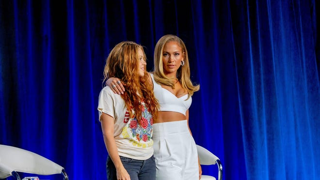 Jennifer Lopez and Shakira talk during press conference for the halftime show on Sunday during Super Bowl LIV at Hard Rock Stadium at Hilton Miami Downtown on Wednesday, Jan. 30, 2020, in Miami.
