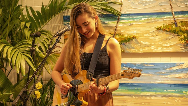 Allegra Miles, the local 17-year-old pop/soul musician, performs at The Garden Shoppe in West Palm Beach.