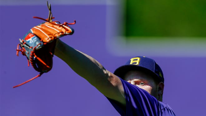 Christian Brothers pitcher Weston Bizzle warms up during a recent practice at the high school.
