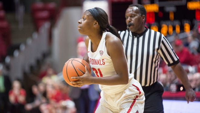 Ball State's Nakeya Penny looks to pass against Miami on Jan. 3 in Worthen Arena.