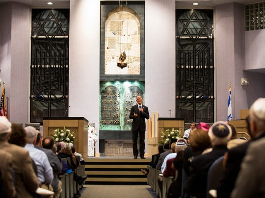 Gov. Rick Scott address the congregation during the Rosh Hashana service at Temple Shalom in North Naples on Wednesday, Sept. 20, 2017.