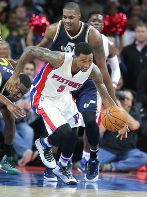 Pistons guard Kentaviuos Caldwell-Pope rebounds against the Jazz during the fourth period of the Pistons' win Wednesday.